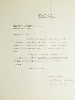"Typed letter signed ""Katharine Anthony"". Katharine Anthony, American biographer."