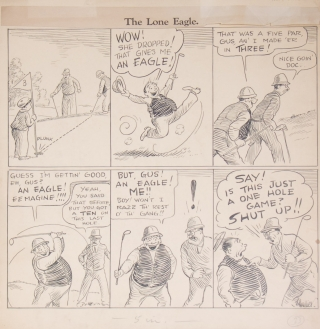 """""""Golf Bugs: The Lone Eagle"""" Original of an six-panel cartoon, india ink on light card, signed """"N. Collier"""""""