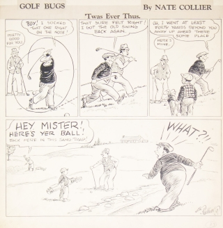 """""""Golf Bugs: 'Twas Ever Thus"""" Original of a four-panel cartoon, india ink on light card, signed and dated """"Nate Collier 39"""""""
