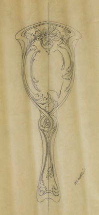 Original pencil design for ladies' hand mirror