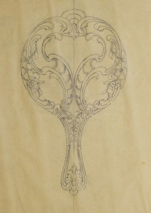 Original pencil design for ladies' hand mirror. George R. Benda
