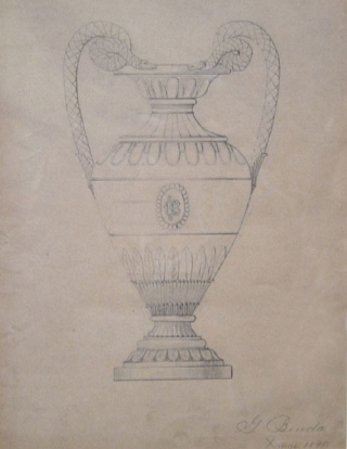 "Original pencil design for ornamental vase. Signed ""G. Benda / Xmas 1890"" lower right. George R. Benda."