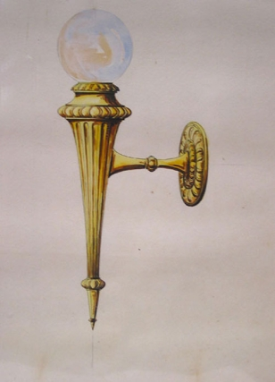 Original pen and watercolor design for ornamental light fixture. George R. Benda.