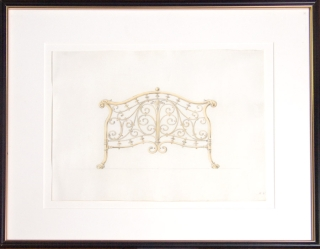 Original pencil and watercolor design for ornamental brass bedstead. George R. Benda