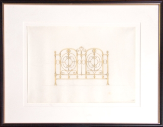 Original pencil and watercolor design for ornamental brass bedstead
