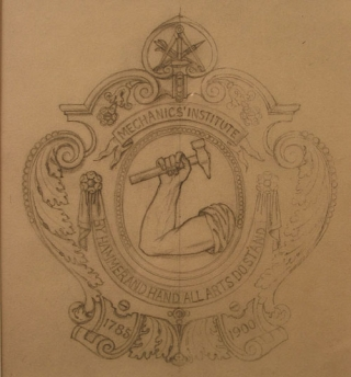Original pencil design for a plaque for the Mechanic's Institute. George R. Benda.