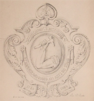 "Original pencil design for a plaque for the Mechanic's Institute; signed ""Geo. R. Benda"" and inscribed ""1/2 of full size"". George R. Benda."