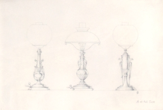 "Original pencil design for three gas-lamp bases; signed with monogram ""GB"" and inscribed ""1/3 of Full Size"". George R. Benda."