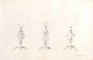 """Original pencil design for three gas-lamp bases; signed with monogram """"GB"""" and inscribed """"1/3 of Full Size"""""""