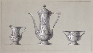 Original ink and colored wash design for three-piece silver tea service. George R. Benda