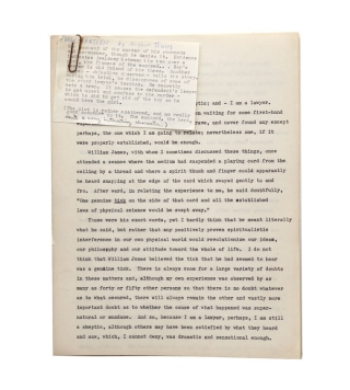 """Three - Thirteen"": Typescript of this detective story, on 30 pages, approximately 9000..."