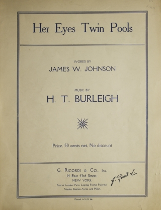 """Her Eyes Twin Pools"": Original sheet music of this romantic popular song, words by James..."