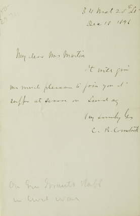 "Autograph note signed ""C. B. Comstock"". C. B. Comstock"