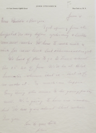 "Autograph Letter Signed (""John"") to Burgess Meredith and Paulette Goddard, regarding his..."
