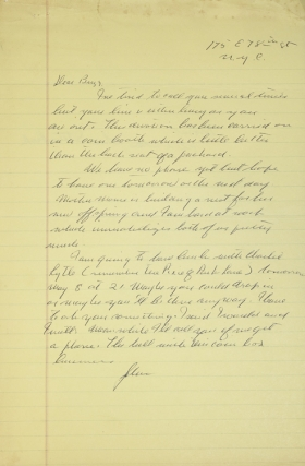 "Autograph Letter Signed (""John""), to Burgess Meredith, on Steinbeck's frustrating attempts to reach him by phone. John Steinbeck."