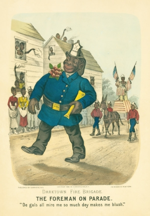 """Darktown Fire Brigade. The Foreman on Parade"". Currier, Ives"