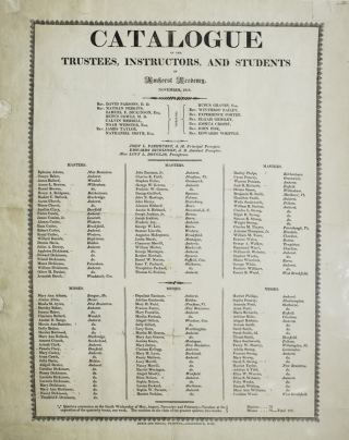 Catalogue of the Trustees, Instructors, and Students of Amherst Academy November, 1818. AMHERST; Emily DICKINSON.