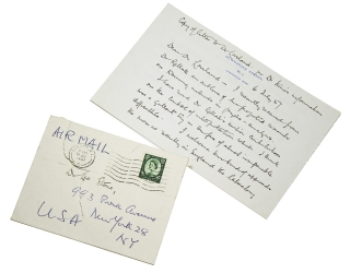 "Autograph Letter, signed (""Edward Glover""), to Dr. Leo Stone. Edward Glover"