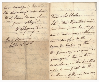 Collection of 4 autograph letters to various recipients and one fair copy poetical manuscript, in...