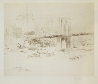"[Five etchings of New York City scenes] ""Brooklyn Bridge,"" ""Park Avenue,"" Forty-Second Street,"" ""Battery Park,"" and ""Lower Broadway"""