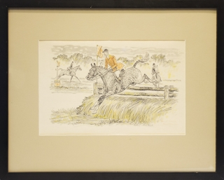 "Watercolor of man going over a jump ""Hunt Team"""