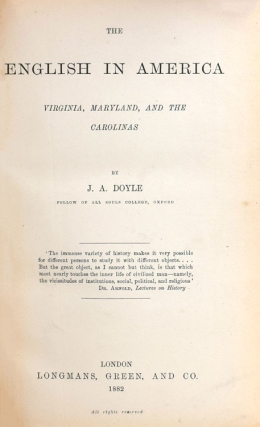 The English in America Virginia, Maryland and the Carolinas. WITH: The Colonies under the House of Hanover. WITH: The Middle Colonies
