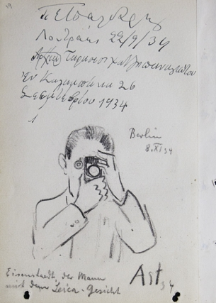 Autographs and inscriptions of Maxim Litvinoff, Anthony Eden, and others at Geneva and Berlin 1934; caricature of Eisenstaedt, der Mann mit dem Leica-Gesicht, Berlin 8.XI. 34, signed Apt 34; and inscriptions in Cyrillic. Alfred Eisenstaedt.