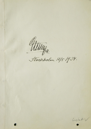 Autograph of King Gustav V of Sweden. Gustav V