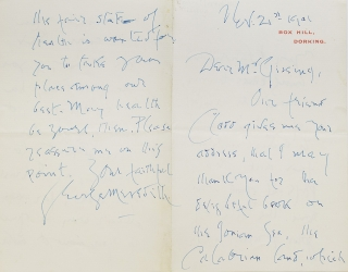 "Autograph Letter Signed (""George Meredith""), to George Gissing, thanking him for ""the..."