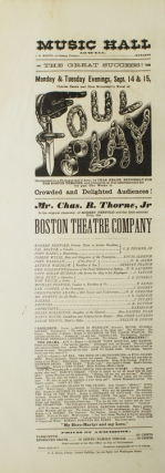 Broadside: Music Hall. Manager: J.B. Booth. The Great Success! Monday & Tuesday Evenings, Sept....