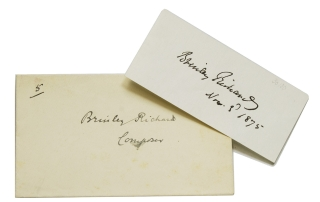 "Signature and date on slip ""Brinley Richards"". Brinley Richards, Welsh Composer, Henry"