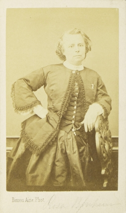 Carte de visite showing Bonheur leaning on a chair with hand on hip. Rosa Bonheur, French Painter.