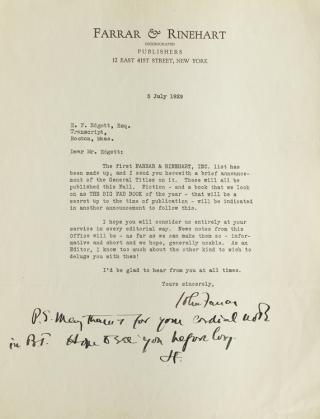 2 TLS. To E. F. Edgett literary editor of the Boston Evening Transcript. John Farrar