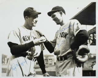 Autograph of Yankee Red Ruffing and Yankee Catcher Bill Dickey on photograph. Red Ruffing