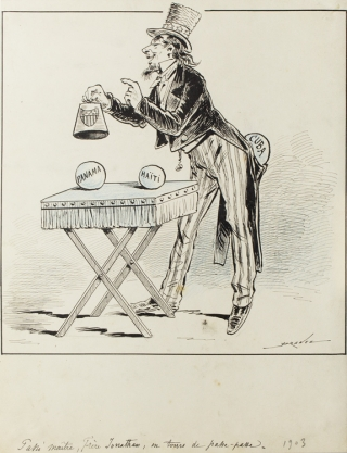 Cartoon of Uncle Sam or Brother Jonathan performing a trick with balls of Panama, Haiti and Cuba....
