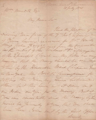 ALS. To William Meredith Esq. of Philadelphia about recovery of money. NJ Morristown, David Ford.