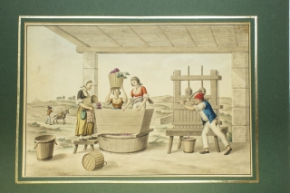 Watercolour of 3 women and man crushing grapes wine and pressing
