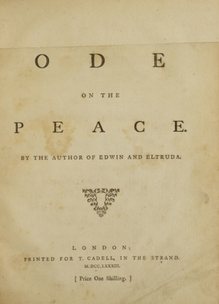Monody on Major Andrè. By Miss Seward. (Author of the Elegy on Capt. Cook.) To Which Are Added Letters Addressed to Her by Major Andrè, in the Year 1769