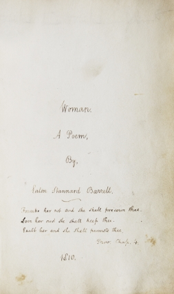 Woman. A Poem [autograph fair-copy manuscript of an early unpublished draft]. Eaton Stannard Barrett