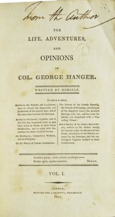 The Life, Adventures and Opinions of Col. George Hanger