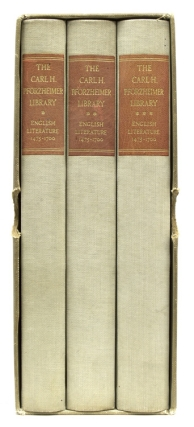 The Carl H. Pforzheimer Library. English Literature 1475-1700. William A. Jackson