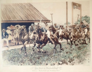 """Polo Match for Westchester Cups, Between Meadowbrook and Rockaway Teams, Newport, R.I., 1892"": colored print on toned paper, produced by the Heliotype process, with lower marginal caption. Polo, W. S. Vanderbilt Allen."