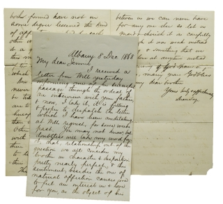 "Two Autograph Letters, signed (""Dean Sage""), to his prospective sister-in-law,..."