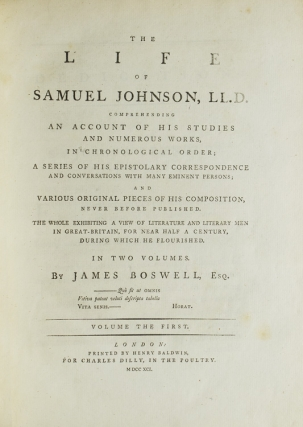 The Life of Samuel Johnson, LL.D … in Two Volumes