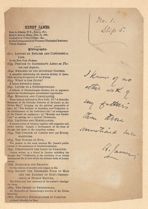 Henry James … Bibliography [Proof sheet of checklist of the works of Henry James, Sr]. Henry James