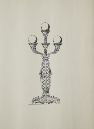 Original ink drawing of standing three bulb electric light fixture. George R. Benda