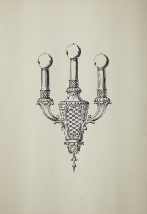 Original ink drawing in pen and ink of wall elctric light fixture witgh 3 bulbs. George R. Benda
