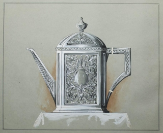 Original drawing of a Tea Pot heightened in white. George R. Benda.