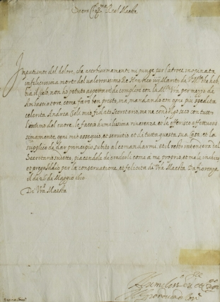Letter signed to Marie de' Medici offering condolences on the assassination of her husband, Henry IV. Cosimo II de' Medici.