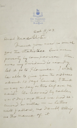 "Autograph Letter, signed (""Mark"") to his friend John MacAlister, on securing the return of his copyrights from Bliss and a guaranteed income from Harper's. Samuel Langhorne Clemens."